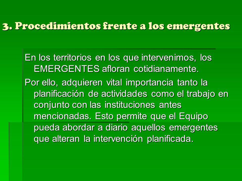 3. Procedimientos frente a los emergentes En los territorios en los que intervenimos, los EMERGENTES afloran cotidianamente. Por ello, adquieren vital
