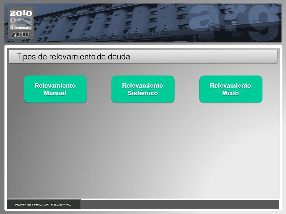 6 Tipos de relevamiento de deuda Relevamiento Sistémico Relevamiento Manual Relevamiento Mixto Relevamiento Mixto
