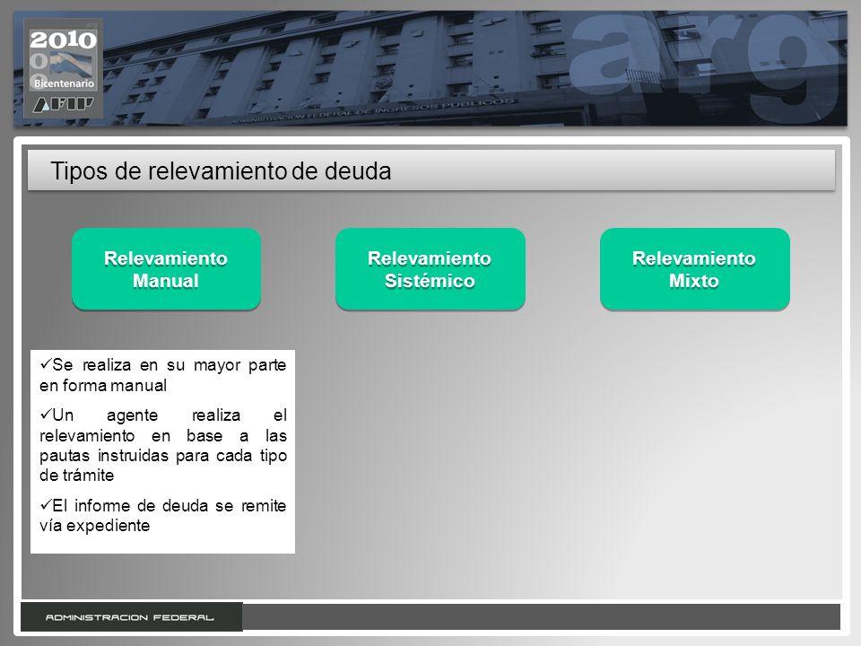 7 Tipos de relevamiento de deuda Relevamiento Sistémico Relevamiento Manual Relevamiento Mixto Relevamiento Mixto Se realiza en su mayor parte en form