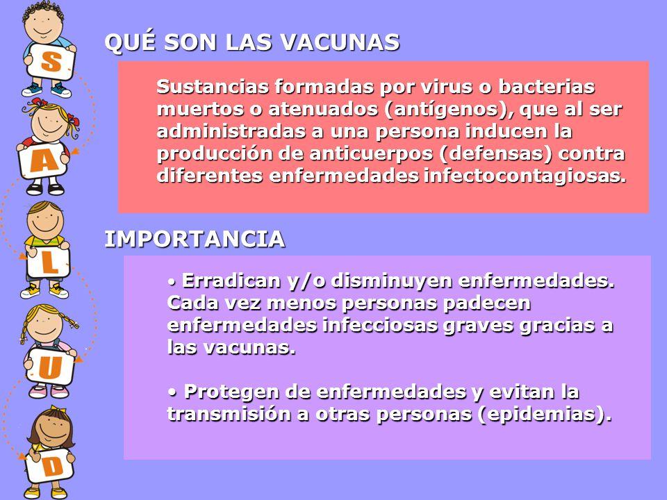 Sustancias formadas por virus o bacterias muertos o atenuados (antígenos), que al ser administradas a una persona inducen la producción de anticuerpos