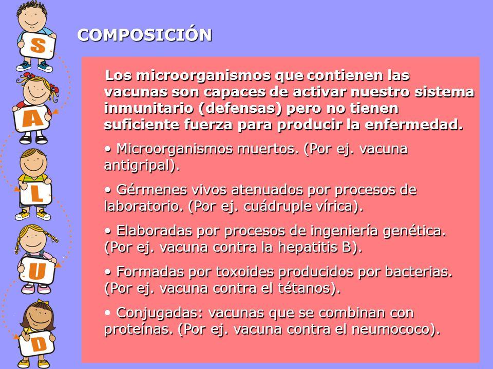 COMPOSICIÓN Microorganismos muertos. (Por ej. vacuna antigripal). Microorganismos muertos. (Por ej. vacuna antigripal). Gérmenes vivos atenuados por p