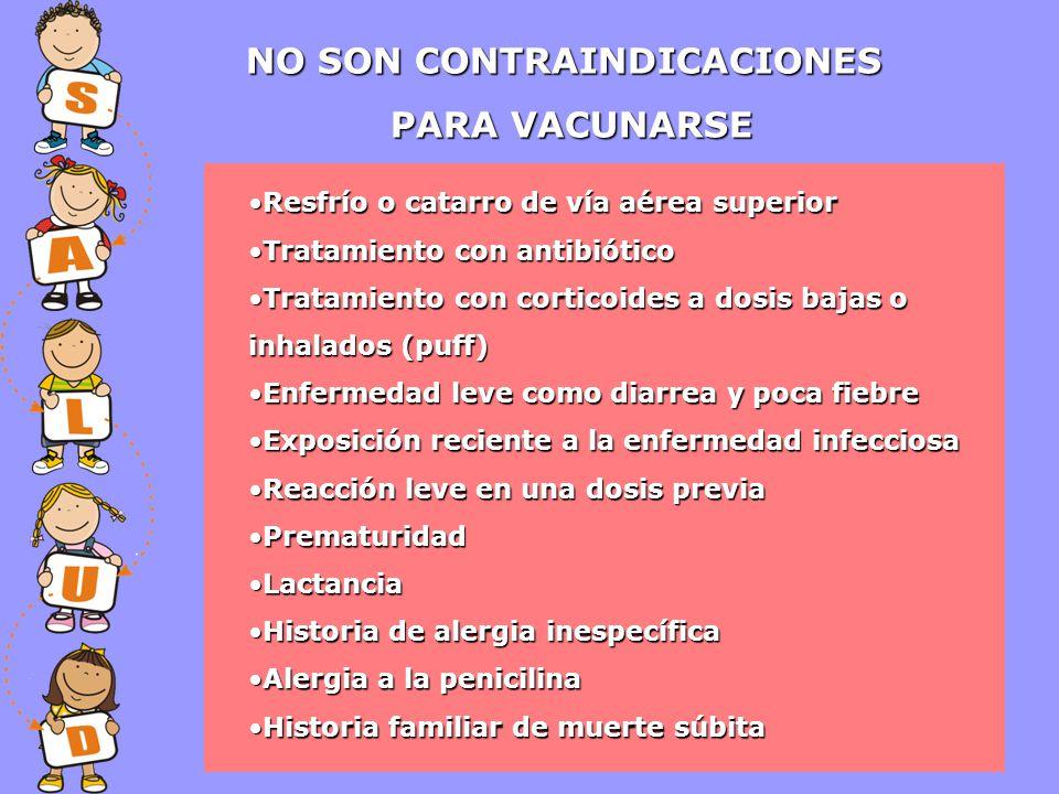 NO SON CONTRAINDICACIONES PARA VACUNARSE Resfrío o catarro de vía aérea superiorResfrío o catarro de vía aérea superior Tratamiento con antibióticoTra