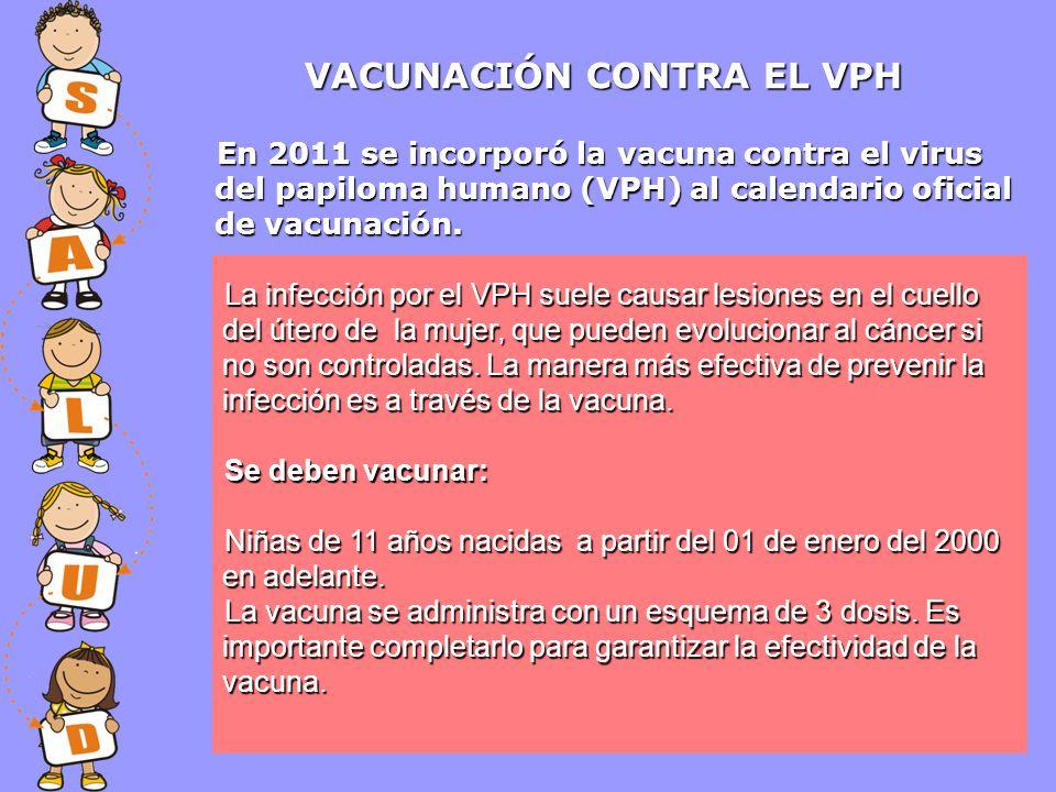 VACUNACIÓN CONTRA EL VPH La infección porel VPH suele causar lesiones en el cuello del útero de la mujer, que pueden evolucionar al cáncer si no son c