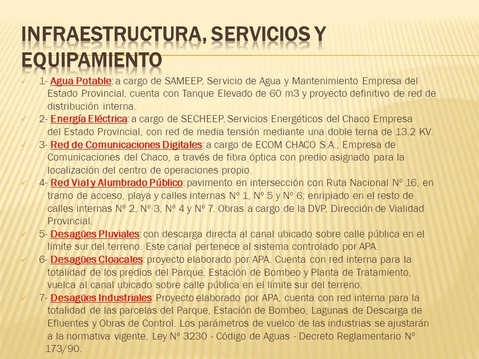 1- Agua Potable: a cargo de SAMEEP, Servicio de Agua y Mantenimiento Empresa del Estado Provincial, cuenta con Tanque Elevado de 60 m3 y proyecto defi