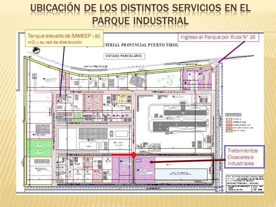 Tanque elevado de SAMEEP ( 60 m3) y su red de distribución Ingreso al Parque por Ruta Nº 16 Tratamientos Cloacales e industriales