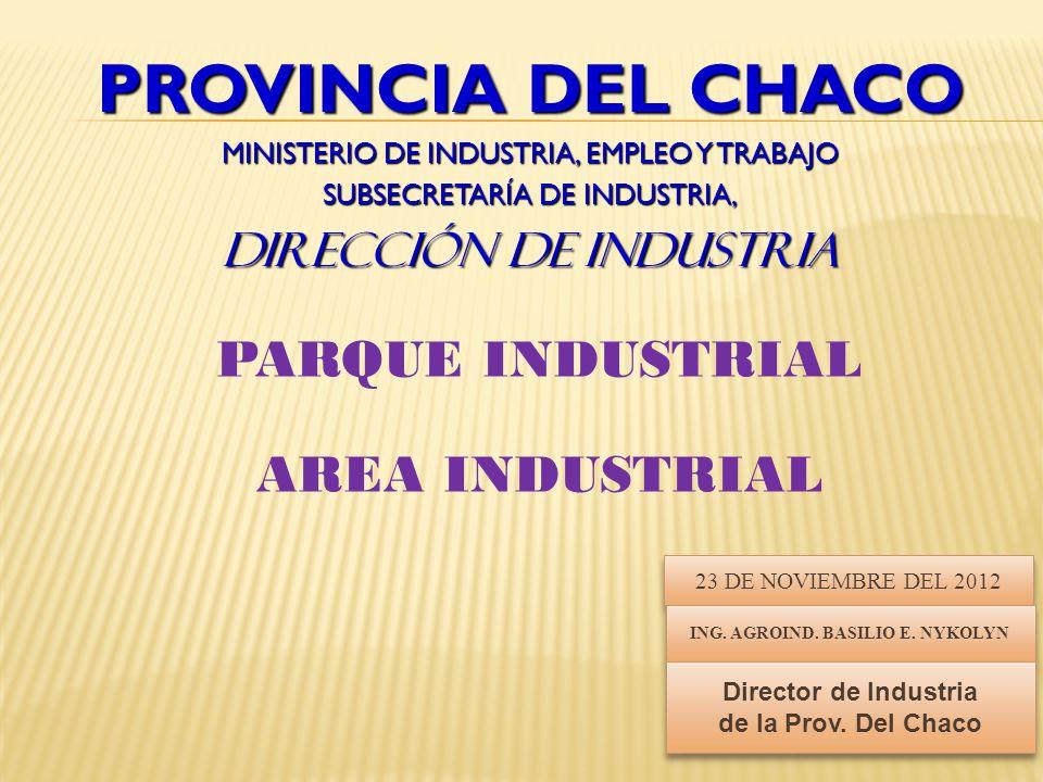 PROVINCIA DEL CHACO MINISTERIO DE INDUSTRIA, EMPLEO Y TRABAJO SUBSECRETARÍA DE INDUSTRIA, DIRECCIÓN DE INDUSTRIA PARQUE INDUSTRIAL AREA INDUSTRIAL 23