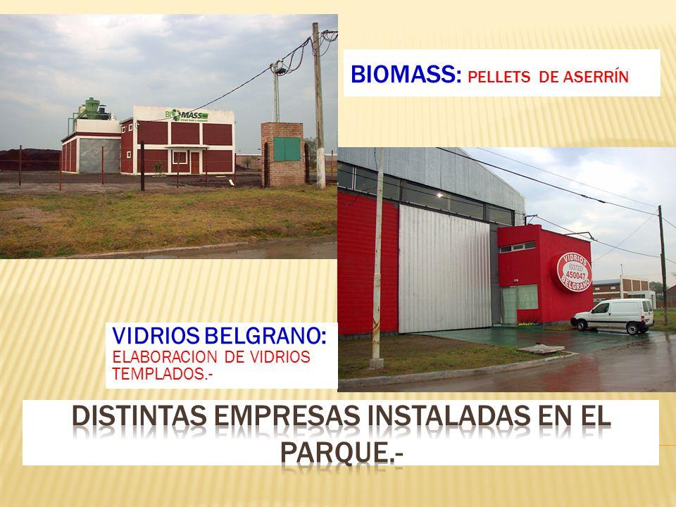 BIOMASS: PELLETS DE ASERRÍN VIDRIOS BELGRANO: ELABORACION DE VIDRIOS TEMPLADOS.-