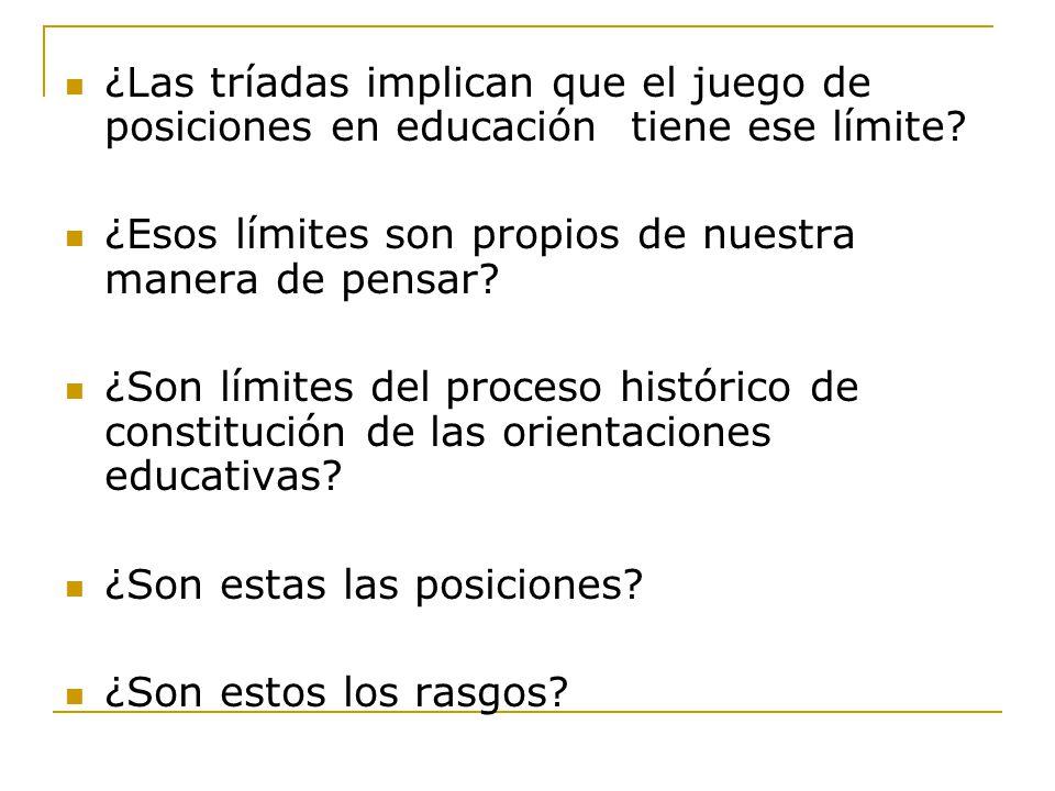 ¿Las tríadas implican que el juego de posiciones en educación tiene ese límite.