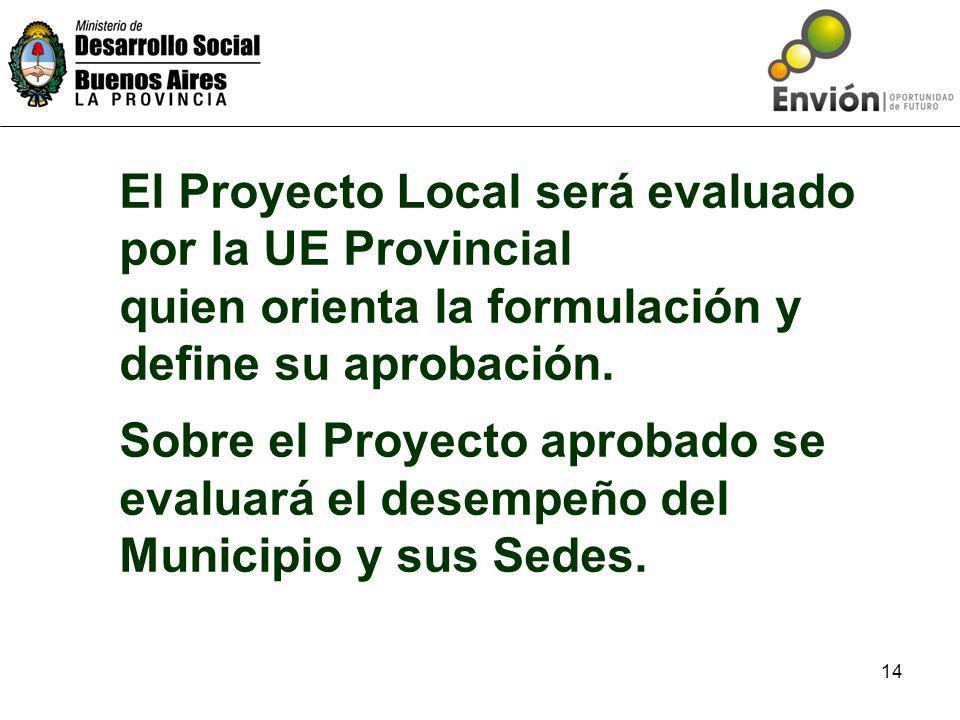 14 El Proyecto Local será evaluado por la UE Provincial quien orienta la formulación y define su aprobación.