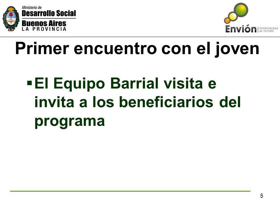 5 Primer encuentro con el joven El Equipo Barrial visita e invita a los beneficiarios del programa