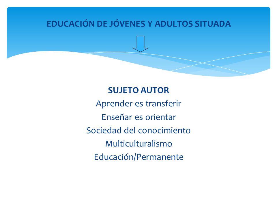 EDUCACIÓN DE JÓVENES Y ADULTOS SITUADA SUJETO AUTOR Aprender es transferir Enseñar es orientar Sociedad del conocimiento Multiculturalismo Educación/P