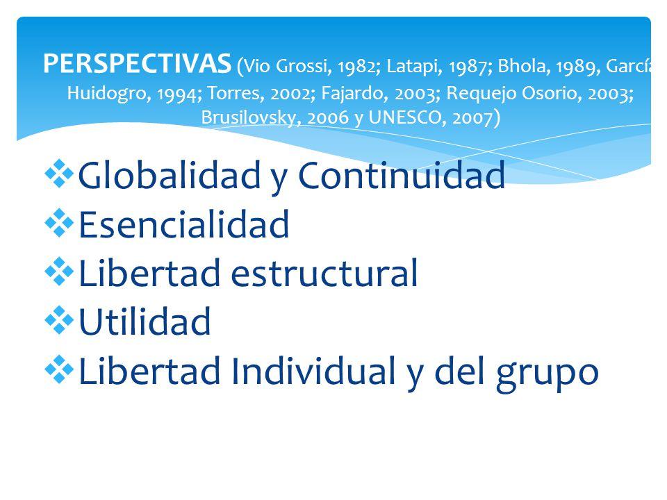 PERSPECTIVAS (Vio Grossi, 1982; Latapi, 1987; Bhola, 1989, García Huidogro, 1994; Torres, 2002; Fajardo, 2003; Requejo Osorio, 2003; Brusilovsky, 2006