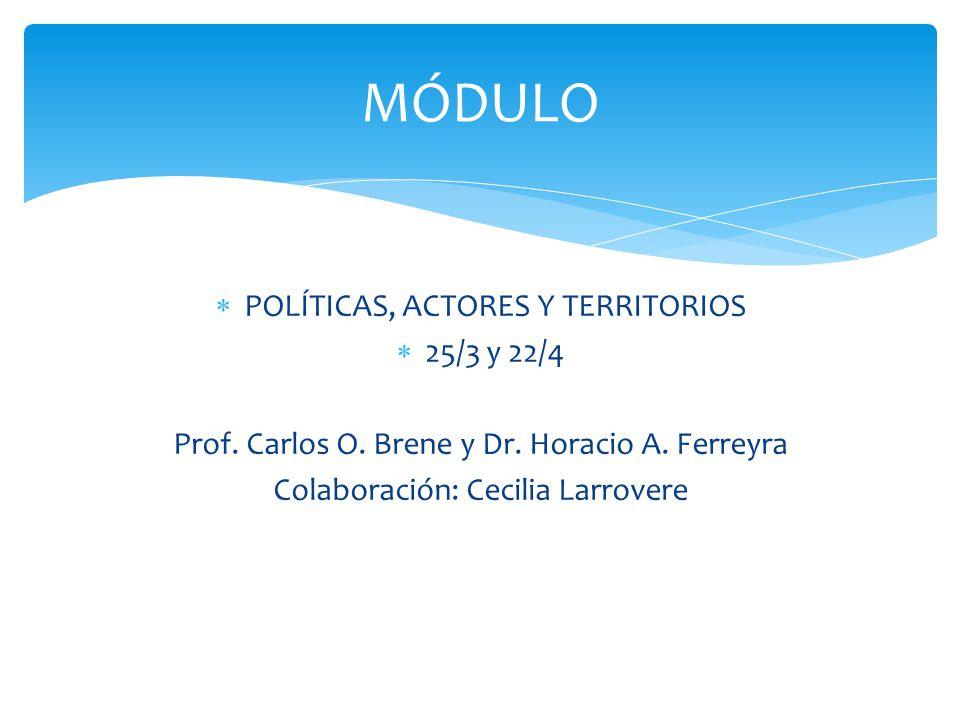 POLÍTICAS, ACTORES Y TERRITORIOS 25/3 y 22/4 Prof. Carlos O. Brene y Dr. Horacio A. Ferreyra Colaboración: Cecilia Larrovere MÓDULO