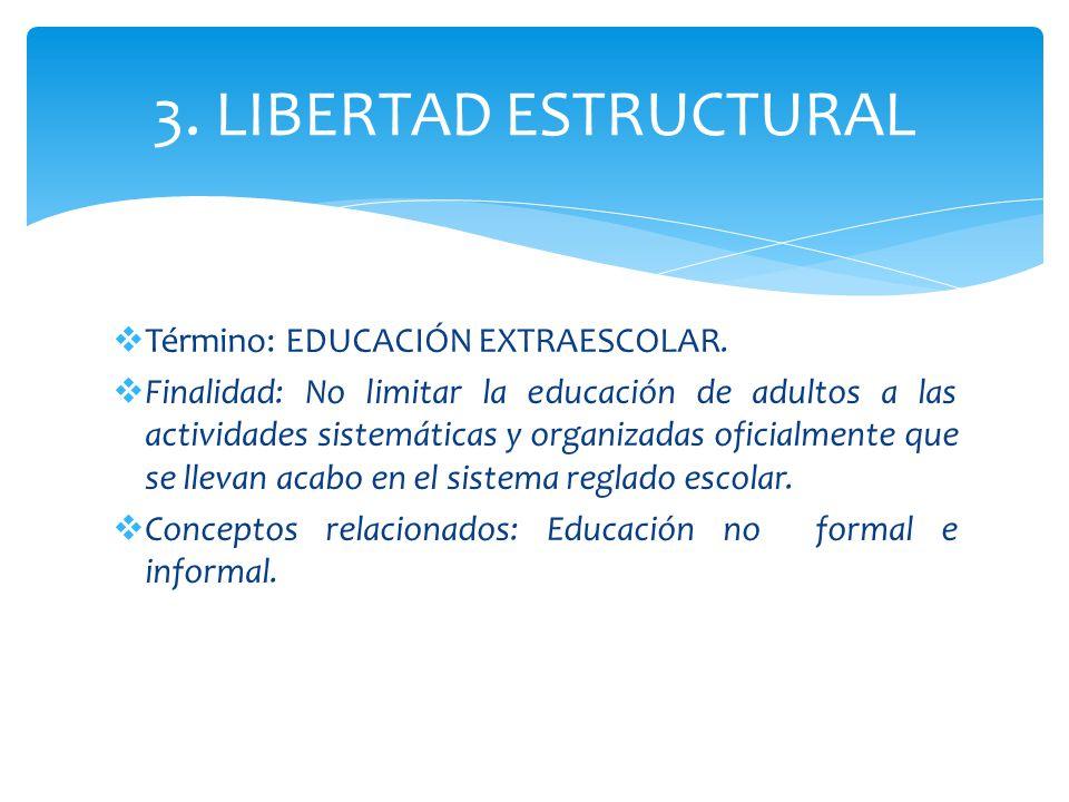 3. LIBERTAD ESTRUCTURAL Término: EDUCACIÓN EXTRAESCOLAR. Finalidad: No limitar la educación de adultos a las actividades sistemáticas y organizadas of