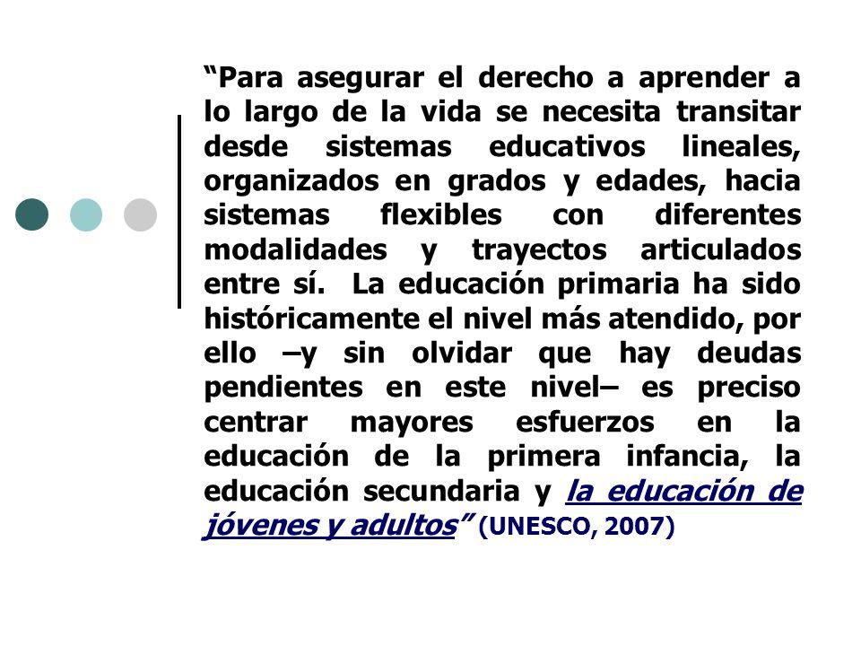Para asegurar el derecho a aprender a lo largo de la vida se necesita transitar desde sistemas educativos lineales, organizados en grados y edades, ha