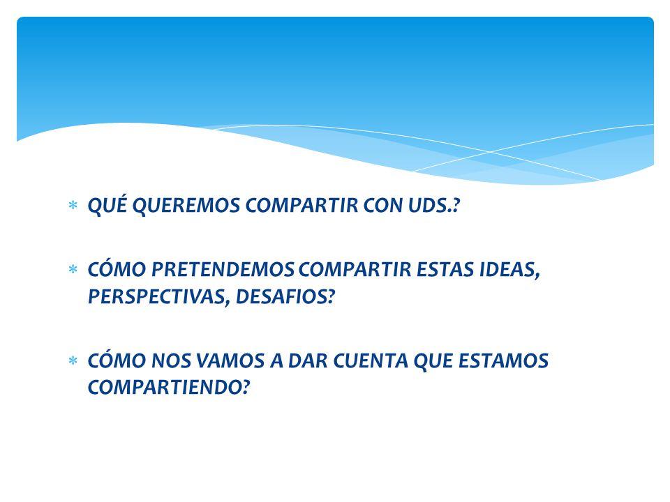 QUÉ QUEREMOS COMPARTIR CON UDS.? CÓMO PRETENDEMOS COMPARTIR ESTAS IDEAS, PERSPECTIVAS, DESAFIOS? CÓMO NOS VAMOS A DAR CUENTA QUE ESTAMOS COMPARTIENDO?