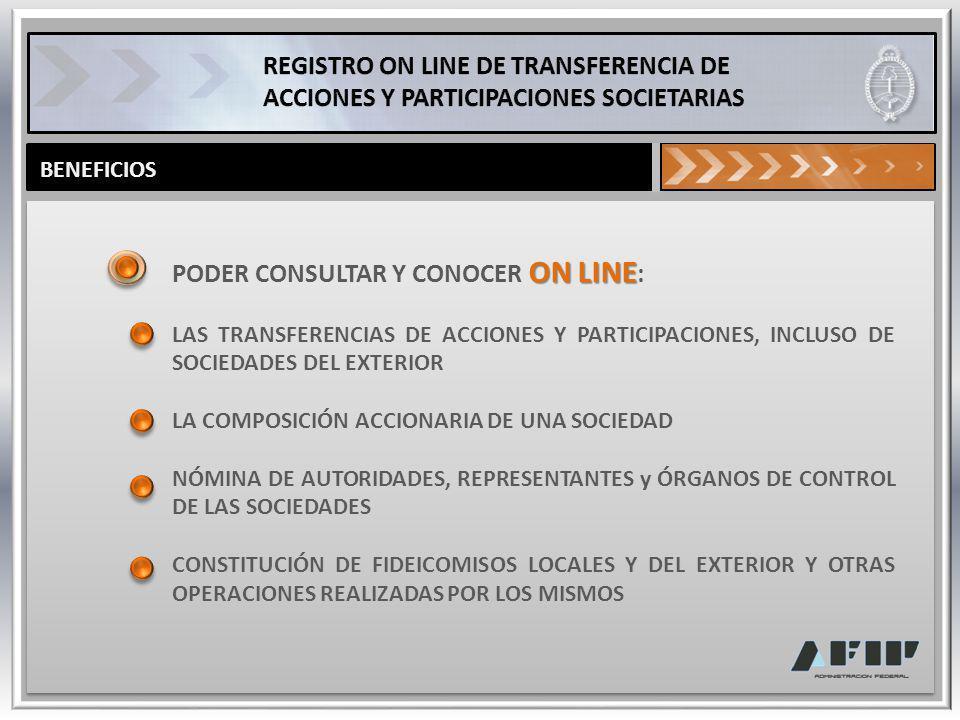 BENEFICIOS ON LINE PODER CONSULTAR Y CONOCER ON LINE : LAS TRANSFERENCIAS DE ACCIONES Y PARTICIPACIONES, INCLUSO DE SOCIEDADES DEL EXTERIOR LA COMPOSI