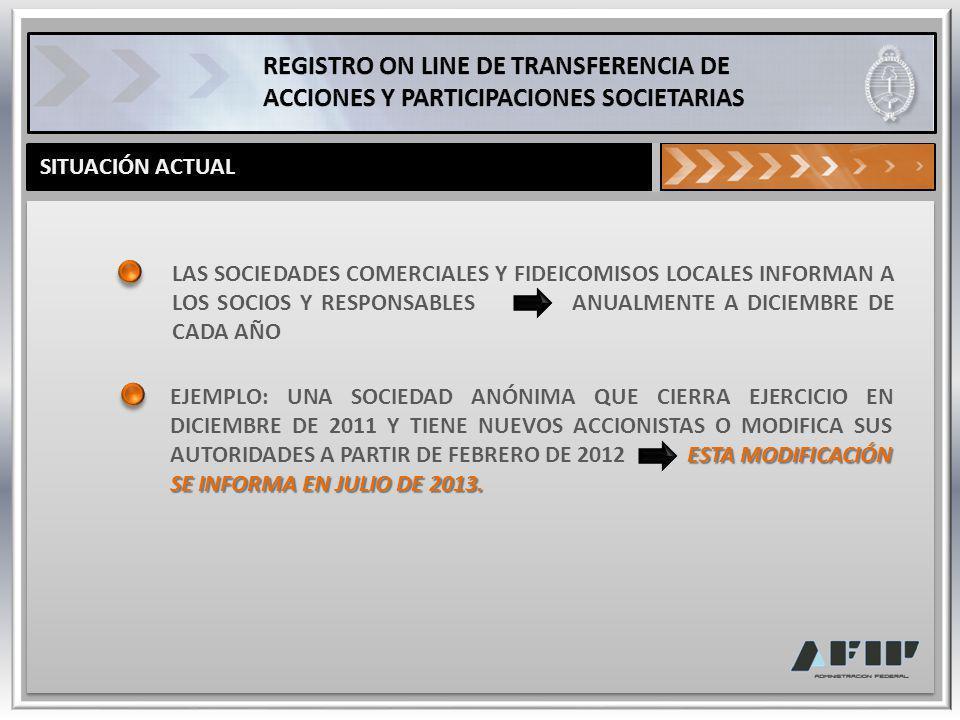 CARACTERÍSTICAS DEL REGISTRO PERMITIRÁ OBTENER ON LINE LA INFORMACIÓN DE LOS SOCIOS Y RESPONSABLES DE CADA SOCIEDAD Y FIDEICOMISOS, INCLUYENDO AQUELLOS DEL EXTERIOR, MEDIANTE: REGISTRO DE TRANSFERENCIAS ON LINE DE ACCIONES Y PARTICIPACIONES SOCIETARIAS ACTUALIZACIÓN PERMANENTE DE AUTORIDADES Y APODERADOS REGISTRO DE FIDEICOMISOS LOCALES Y DEL EXTERIOR
