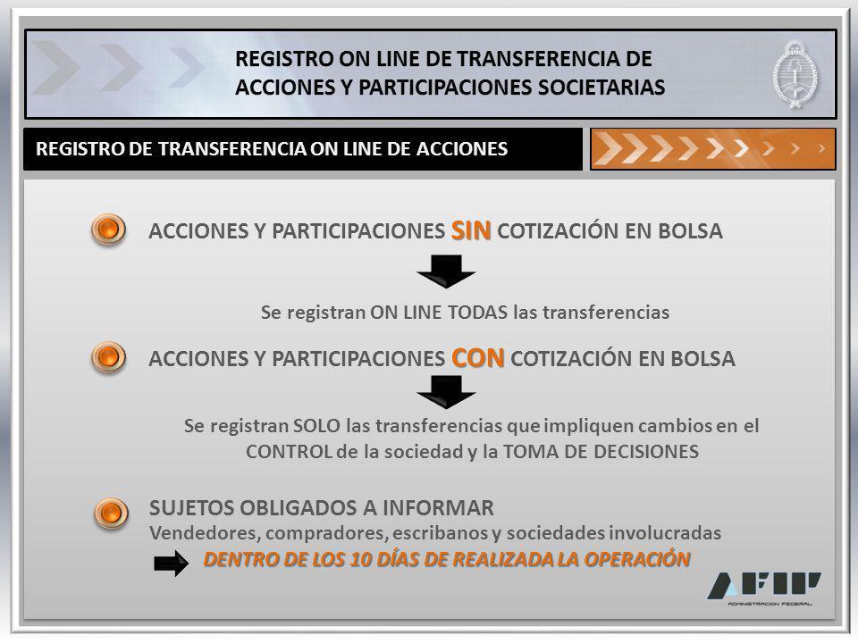 REGISTRO DE TRANSFERENCIA ON LINE DE ACCIONES SIN ACCIONES Y PARTICIPACIONES SIN COTIZACIÓN EN BOLSA Se registran ON LINE TODAS las transferencias Se
