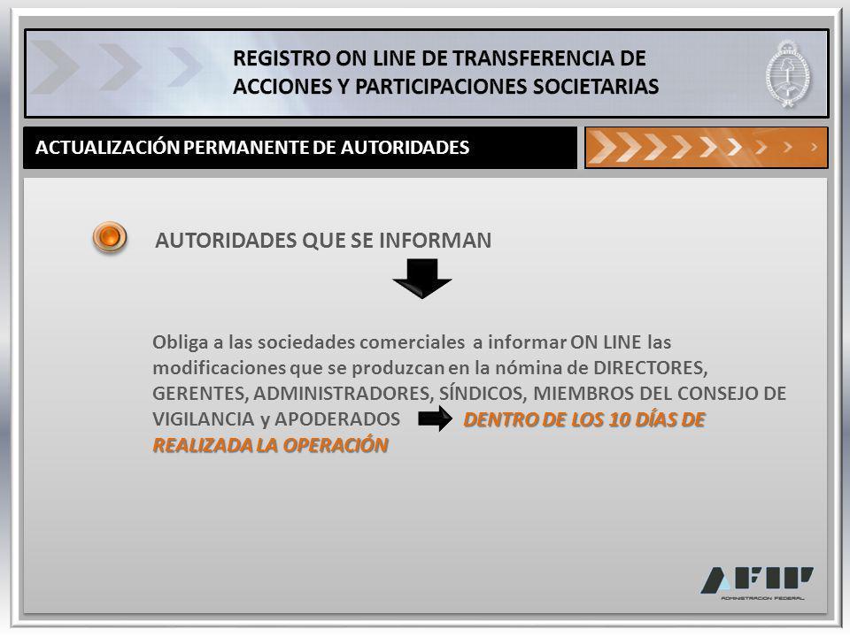 ACTUALIZACIÓN PERMANENTE DE AUTORIDADES AUTORIDADES QUE SE INFORMAN DENTRO DE LOS 10 DÍAS DE REALIZADA LA OPERACIÓN Obliga a las sociedades comerciale