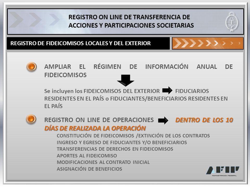 BENEFICIOS ON LINE PODER CONSULTAR Y CONOCER ON LINE : LAS TRANSFERENCIAS DE ACCIONES Y PARTICIPACIONES, INCLUSO DE SOCIEDADES DEL EXTERIOR LA COMPOSICIÓN ACCIONARIA DE UNA SOCIEDAD NÓMINA DE AUTORIDADES, REPRESENTANTES y ÓRGANOS DE CONTROL DE LAS SOCIEDADES CONSTITUCIÓN DE FIDEICOMISOS LOCALES Y DEL EXTERIOR Y OTRAS OPERACIONES REALIZADAS POR LOS MISMOS