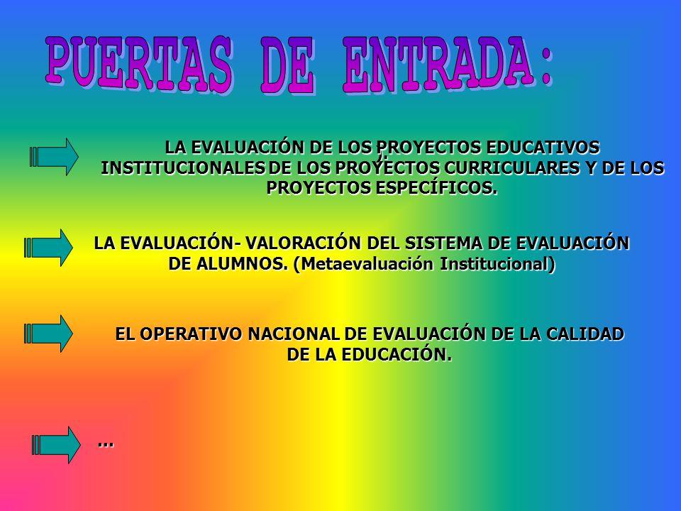 ). EL OPERATIVO NACIONAL DE EVALUACIÓN DE LA CALIDAD DE LA EDUCACIÓN. LA EVALUACIÓN- VALORACIÓN DEL SISTEMA DE EVALUACIÓN DE ALUMNOS. (Metaevaluación