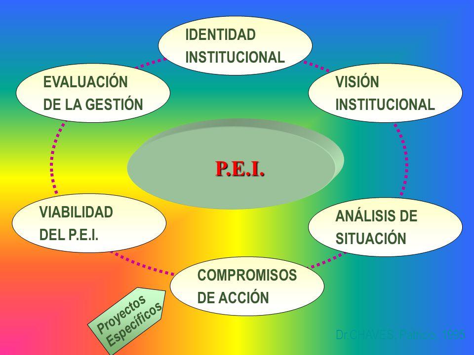 P.E.I. P.E.I. Proyectos Específicos IDENTIDAD INSTITUCIONAL VISIÓN INSTITUCIONAL ANÁLISIS DE SITUACIÓN COMPROMISOS DE ACCIÓN VIABILIDAD DEL P.E.I. EVA