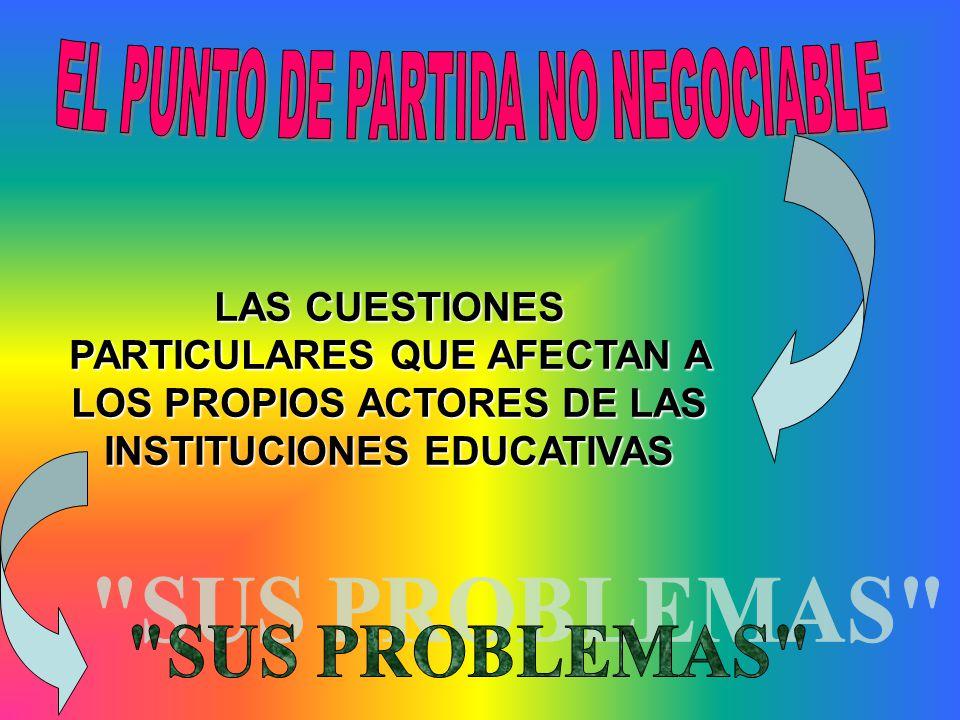 LAS CUESTIONES PARTICULARES QUE AFECTAN A LOS PROPIOS ACTORES DE LAS INSTITUCIONES EDUCATIVAS