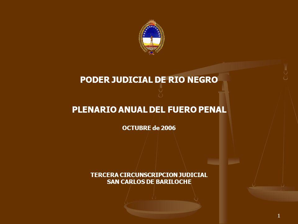 1 PODER JUDICIAL DE RIO NEGRO PLENARIO ANUAL DEL FUERO PENAL OCTUBRE de 2006 TERCERA CIRCUNSCRIPCION JUDICIAL SAN CARLOS DE BARILOCHE