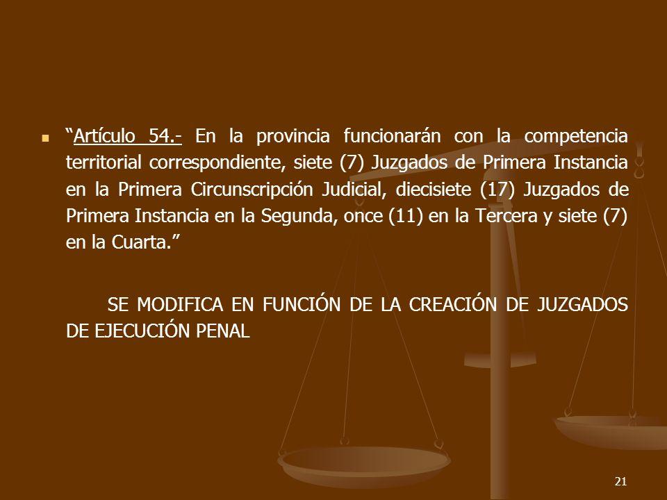 21 Artículo 54.- En la provincia funcionarán con la competencia territorial correspondiente, siete (7) Juzgados de Primera Instancia en la Primera Circunscripción Judicial, diecisiete (17) Juzgados de Primera Instancia en la Segunda, once (11) en la Tercera y siete (7) en la Cuarta.