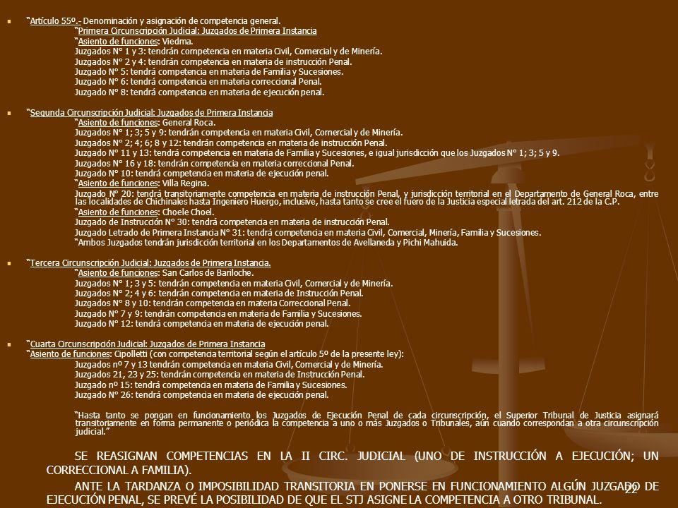 22 Artículo 55º.- Denominación y asignación de competencia general.