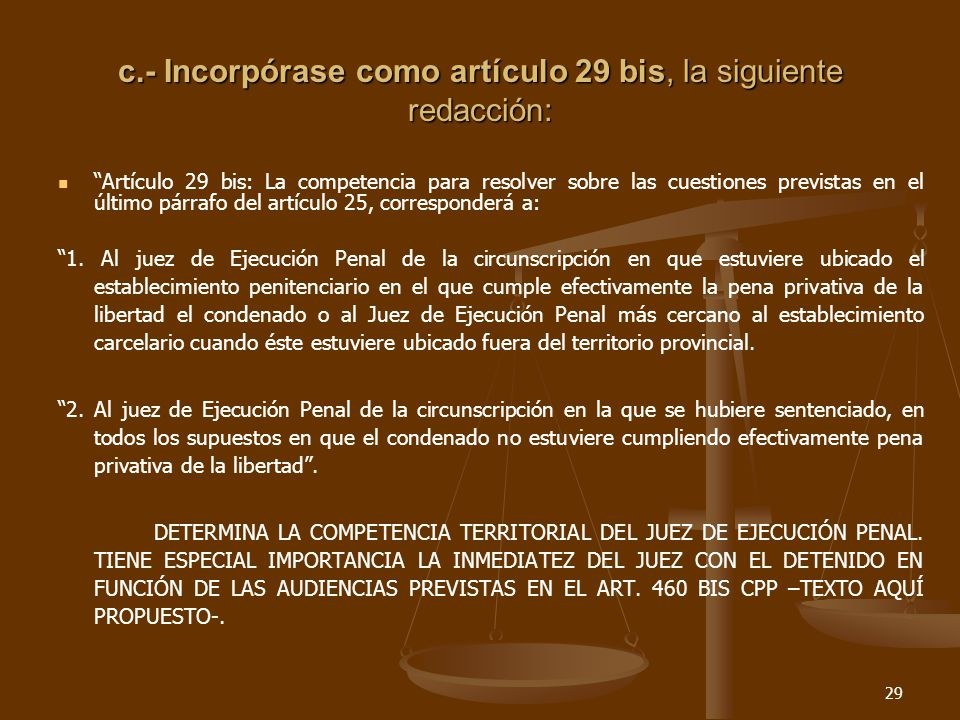 29 c.- Incorpórase como artículo 29 bis, la siguiente redacción: Artículo 29 bis: La competencia para resolver sobre las cuestiones previstas en el último párrafo del artículo 25, corresponderá a: 1.