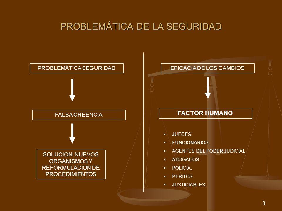 3 PROBLEMÁTICA DE LA SEGURIDAD PROBLEMÁTICA SEGURIDAD FALSA CREENCIA SOLUCION: NUEVOS ORGANISMOS Y REFORMULACION DE PROCEDIMIENTOS EFICACIA DE LOS CAMBIOS FACTOR HUMANO JUECES.