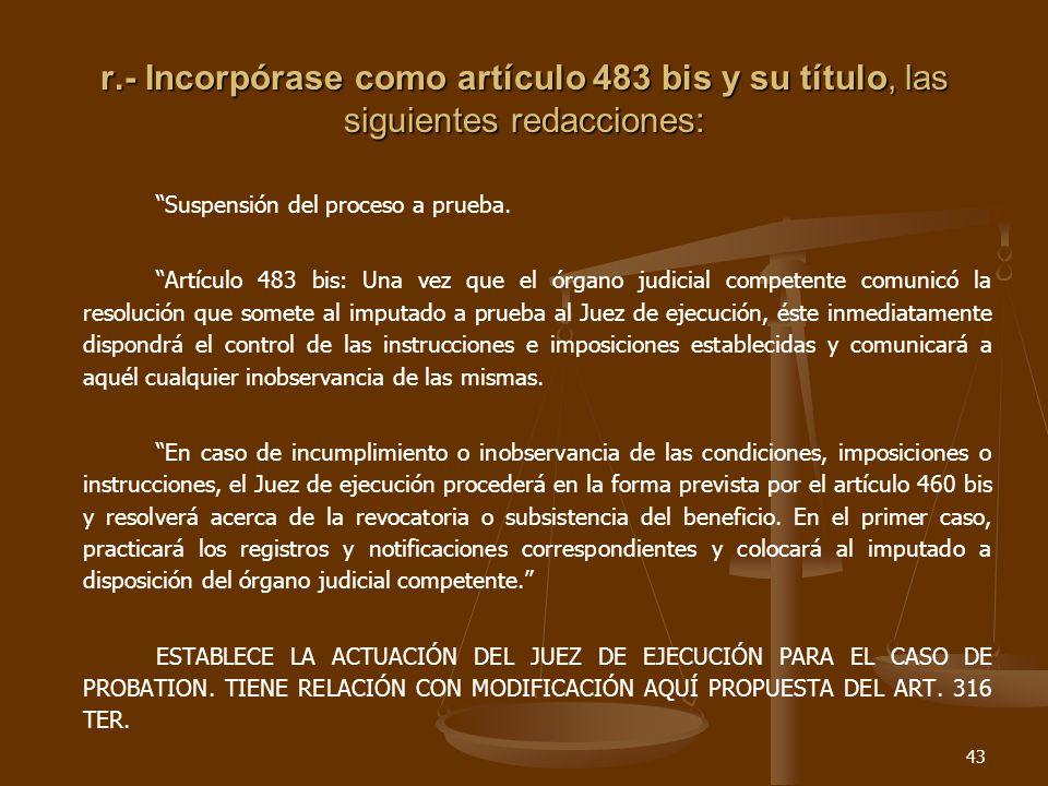 43 r.- Incorpórase como artículo 483 bis y su título, las siguientes redacciones: Suspensión del proceso a prueba.
