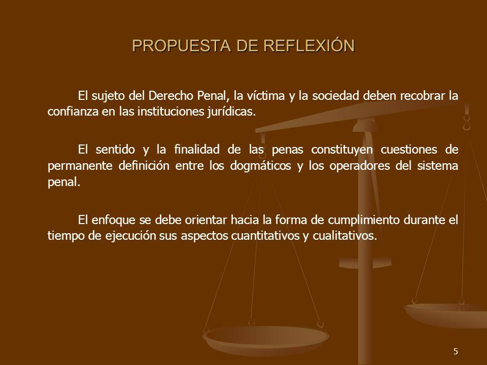 5 PROPUESTA DE REFLEXIÓN El sujeto del Derecho Penal, la víctima y la sociedad deben recobrar la confianza en las instituciones jurídicas.