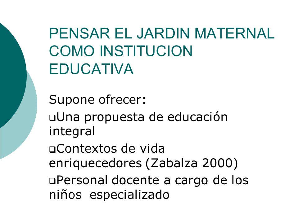PENSAR EL JARDIN MATERNAL COMO INSTITUCION EDUCATIVA Supone ofrecer: Una propuesta de educación integral Contextos de vida enriquecedores (Zabalza 2000) Personal docente a cargo de los niños especializado
