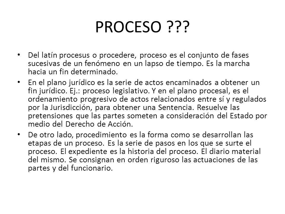 PROCESO ??? Del latín procesus o procedere, proceso es el conjunto de fases sucesivas de un fenómeno en un lapso de tiempo. Es la marcha hacia un fin