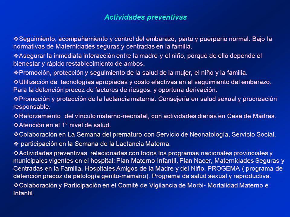 Actividades preventivas Seguimiento, acompañamiento y control del embarazo, parto y puerperio normal.