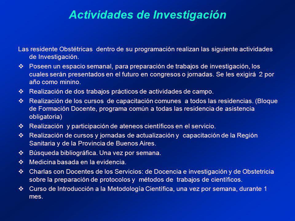 Actividades de Investigación Las residente Obstétricas dentro de su programación realizan las siguiente actividades de Investigación.