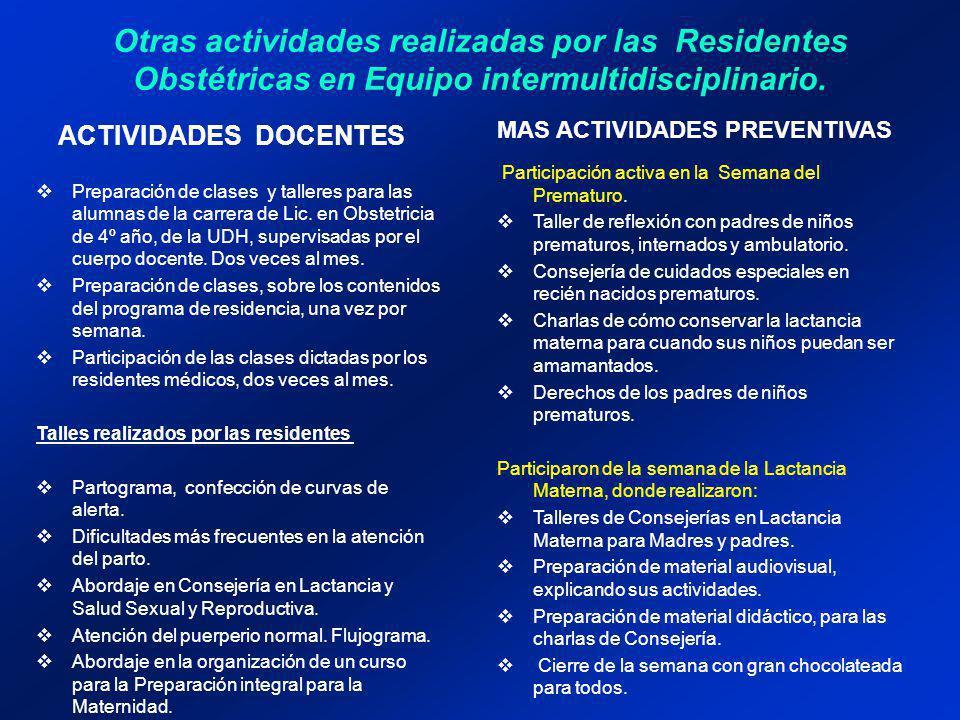 Otras actividades realizadas por las Residentes Obstétricas en Equipo intermultidisciplinario.