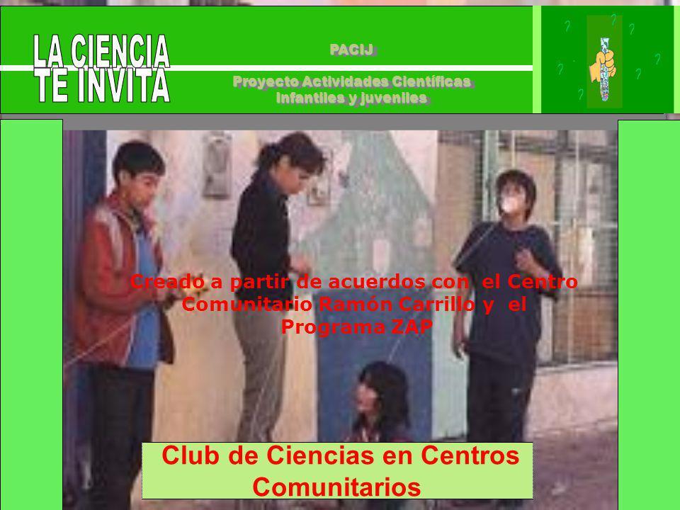 PACIJ Proyecto Actividades Científicas Infantiles y juveniles PACIJ Proyecto Actividades Científicas Infantiles y juveniles Club de Ciencias en Centros Comunitarios Creado a partir de acuerdos con el Centro Comunitario Ramón Carrillo y el Programa ZAP