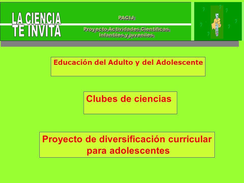 PACIJ Proyecto Actividades Científicas Infantiles y juveniles PACIJ Proyecto Actividades Científicas Infantiles y juveniles Educación del Adulto y del Adolescente Clubes de ciencias Proyecto de diversificación curricular para adolescentes