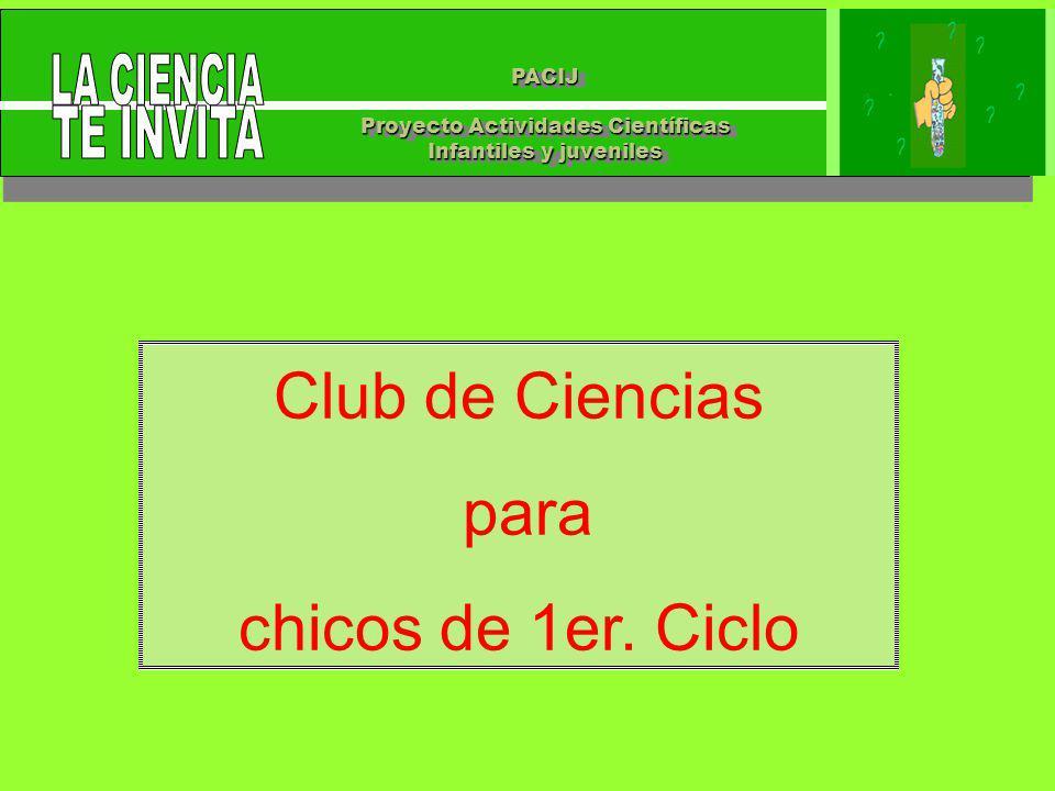 PACIJ Proyecto Actividades Científicas Infantiles y juveniles PACIJ Proyecto Actividades Científicas Infantiles y juveniles Club de Ciencias para chicos de 1er.