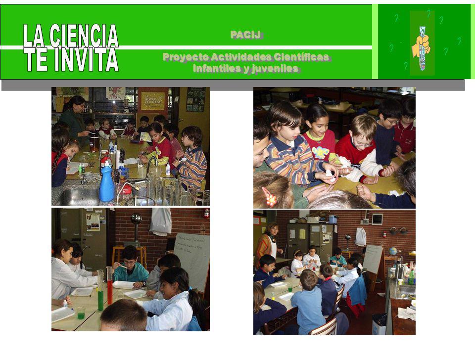 PACIJ Proyecto Actividades Científicas Infantiles y juveniles PACIJ Proyecto Actividades Científicas Infantiles y juveniles Club de Ciencias en Jornada extendida para chicos que van a escuelas de jornada completa coordinados por una pareja pedagógica