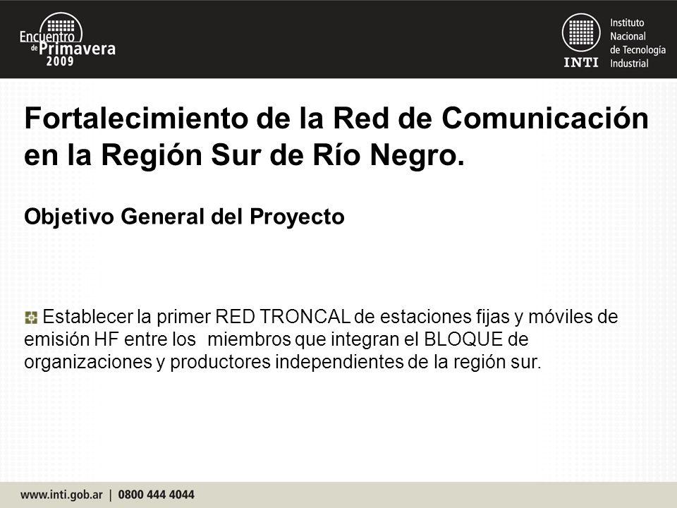 Objetivo General del Proyecto Establecer la primer RED TRONCAL de estaciones fijas y móviles de emisión HF entre los miembros que integran el BLOQUE d
