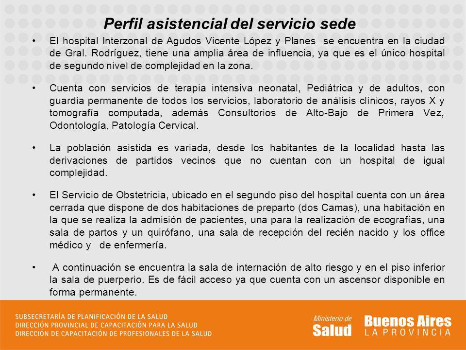 Perfil asistencial del servicio sede El hospital Interzonal de Agudos Vicente López y Planes se encuentra en la ciudad de Gral. Rodríguez, tiene una a