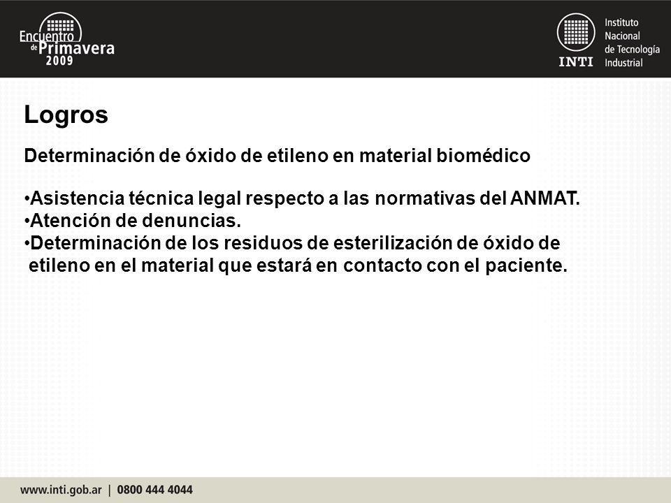 Logros Determinación de óxido de etileno en material biomédico Asistencia técnica legal respecto a las normativas del ANMAT. Atención de denuncias. De