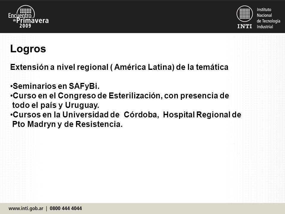 Logros Extensión a nivel regional ( América Latina) de la temática Seminarios en SAFyBi. Curso en el Congreso de Esterilización, con presencia de todo