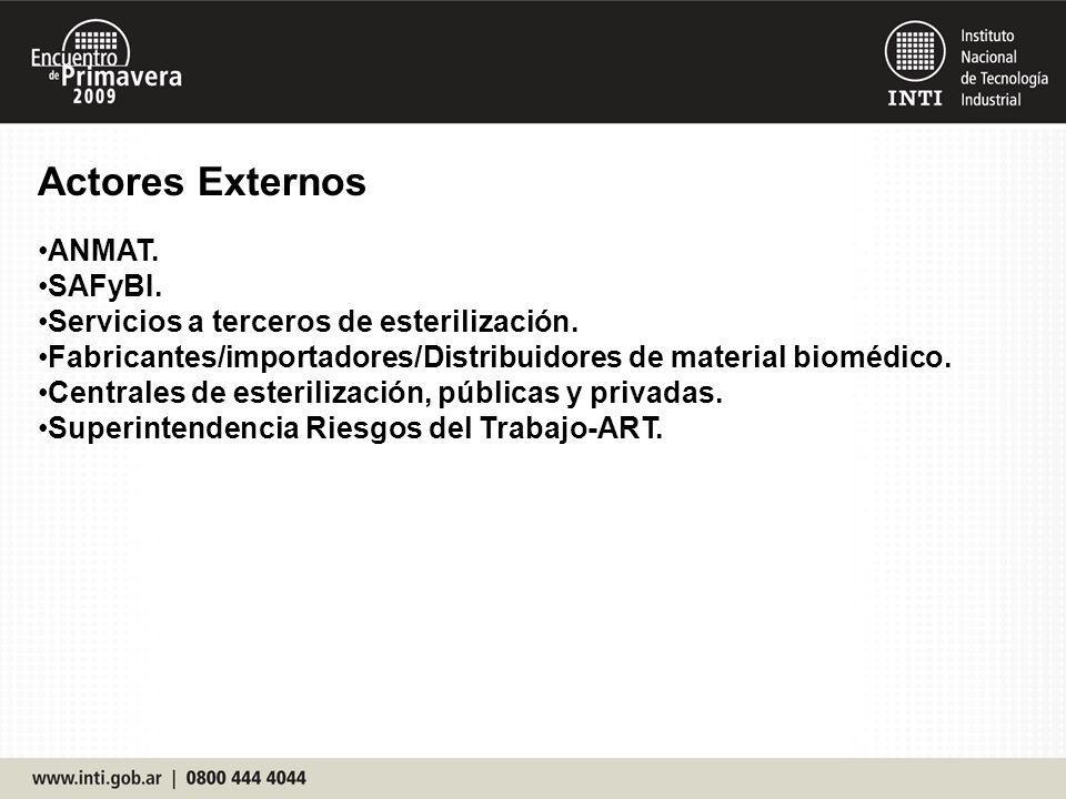 Actores Externos ANMAT. SAFyBI. Servicios a terceros de esterilización. Fabricantes/importadores/Distribuidores de material biomédico. Centrales de es