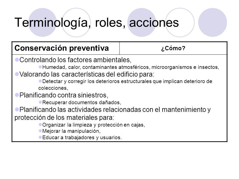 Terminología, roles, acciones Conservación preventiva ¿Cómo? Controlando los factores ambientales, Humedad, calor, contaminantes atmosféricos, microor